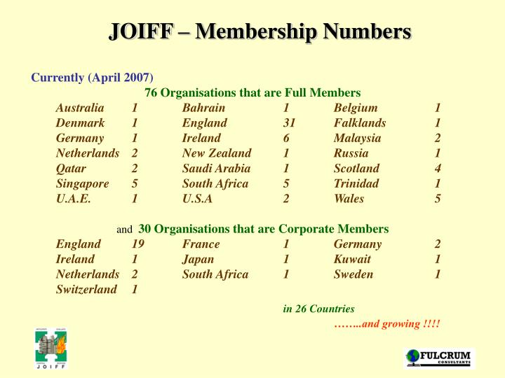 JOIFF – Membership Numbers