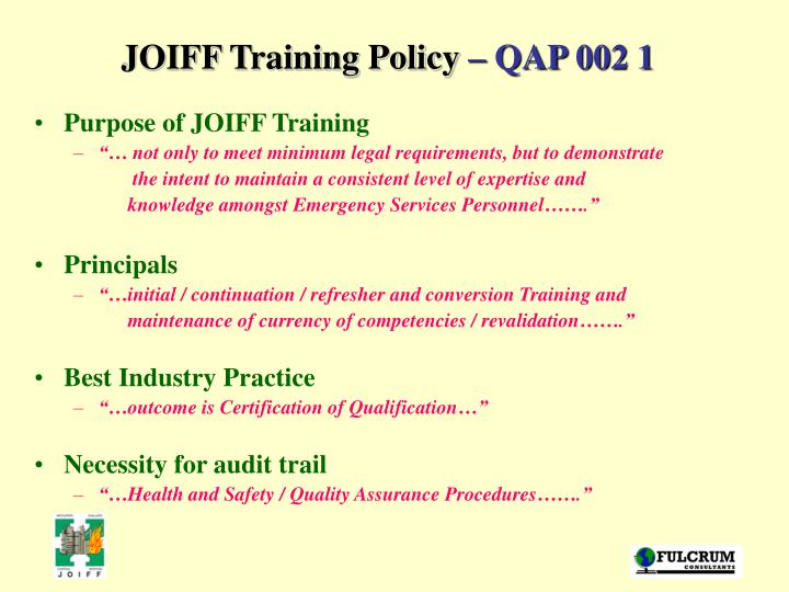JOIFF Training Policy