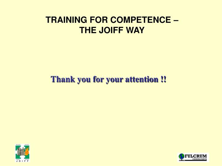 TRAINING FOR COMPETENCE –