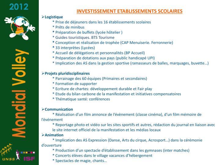 INVESTISSEMENT ETABLISSEMENTS SCOLAIRES