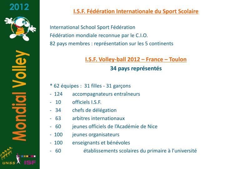 I.S.F. Fédération Internationale du Sport Scolaire