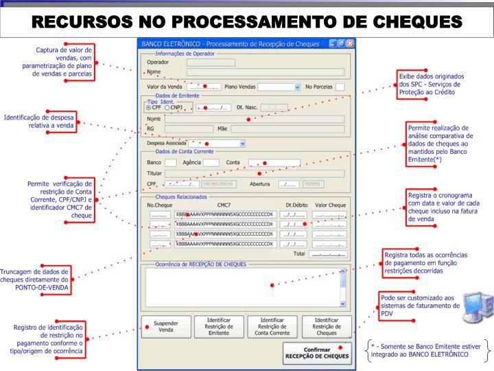 RECURSOS NO PROCESSAMENTO DE CHEQUES