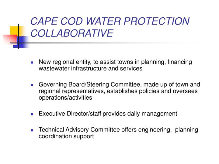 CAPE COD WATER PROTECTION COLLABORATIVE