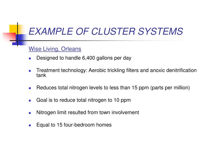 EXAMPLE OF CLUSTER SYSTEMS