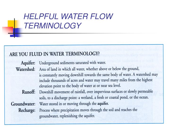 HELPFUL WATER FLOW TERMINOLOGY