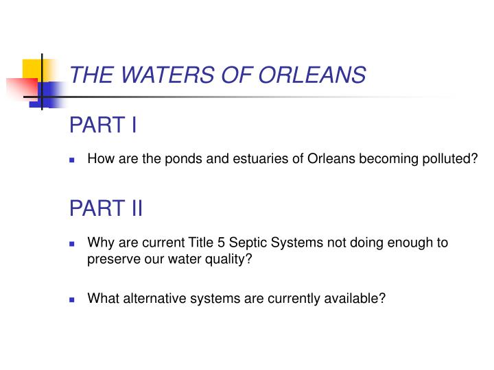 THE WATERS OF ORLEANS