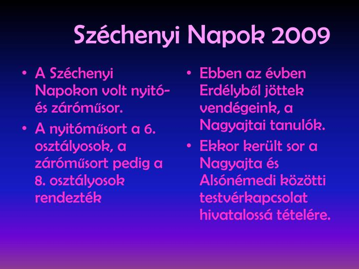 Széchenyi Napok 2009