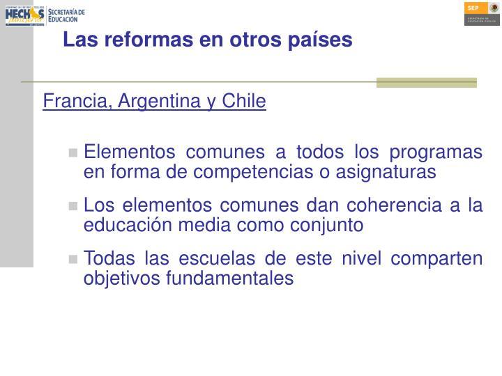 Las reformas en otros países