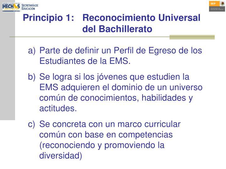 Principio 1:Reconocimiento Universal