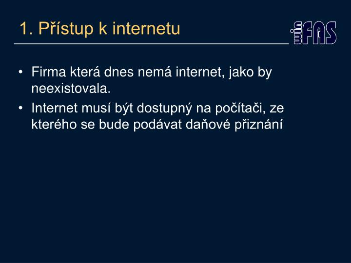 1. Přístup k internetu