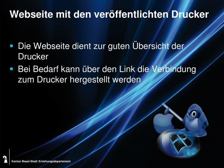 Webseite mit den veröffentlichten Drucker