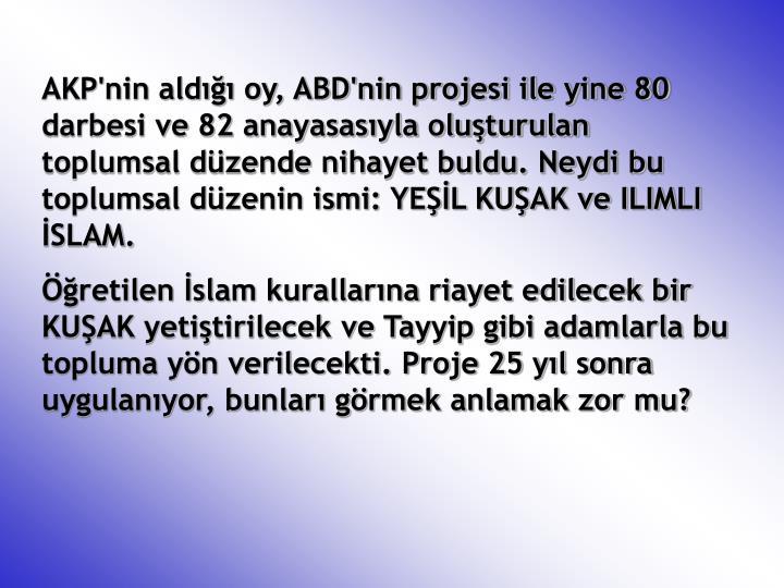 AKP'nin aldığı oy, ABD'nin projesi ile yine 80 darbesi ve 82 anayasasıyla oluşturulan toplumsal düzende nihayet buldu. Neydi bu toplumsal düzenin ismi: YEŞİL KUŞAK ve ILIMLI İSLAM.