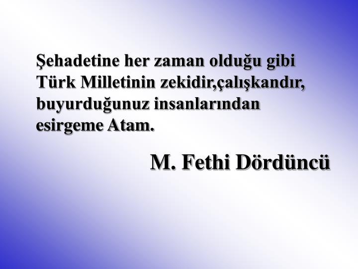 Şehadetine her zaman olduğu gibi Türk Milletinin zekidir,çalışkandır,  buyurduğunuz insanlarından esirgeme Atam.