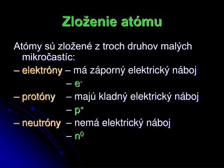 Zloženie atómu