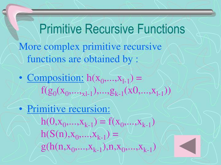 Primitive Recursive Functions