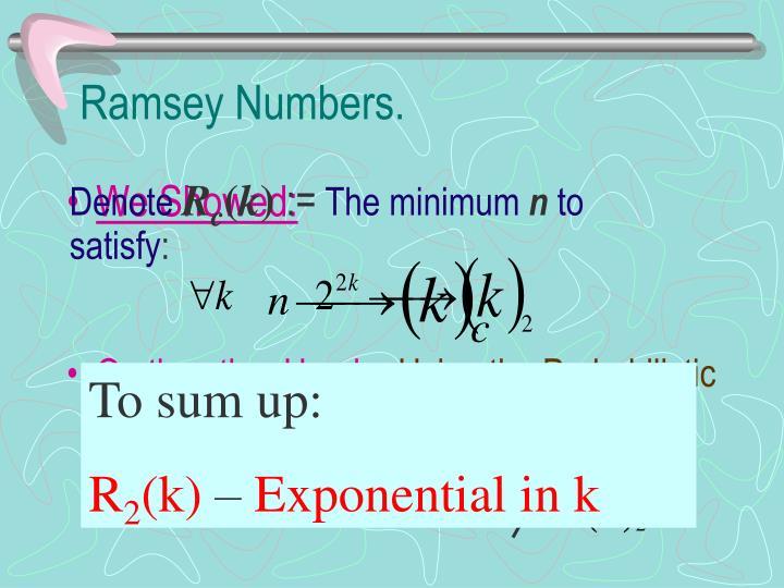 Ramsey Numbers.