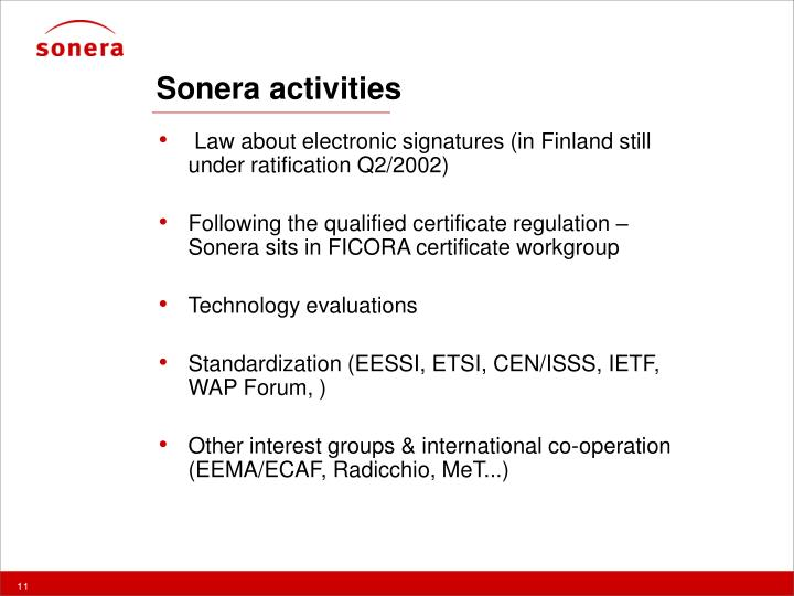 Sonera activities