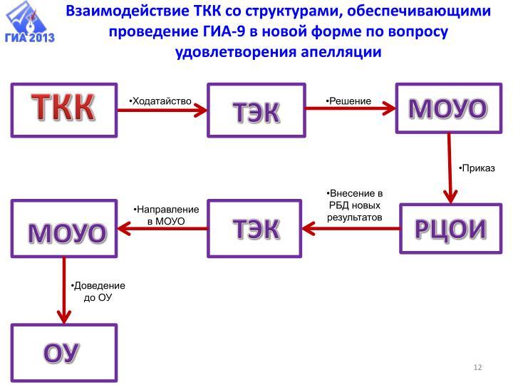Взаимодействие ТКК со структурами, обеспечивающими проведение ГИА-9 в новой форме по вопросу удовлетворения апелляции