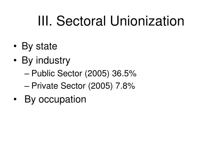 III. Sectoral Unionization