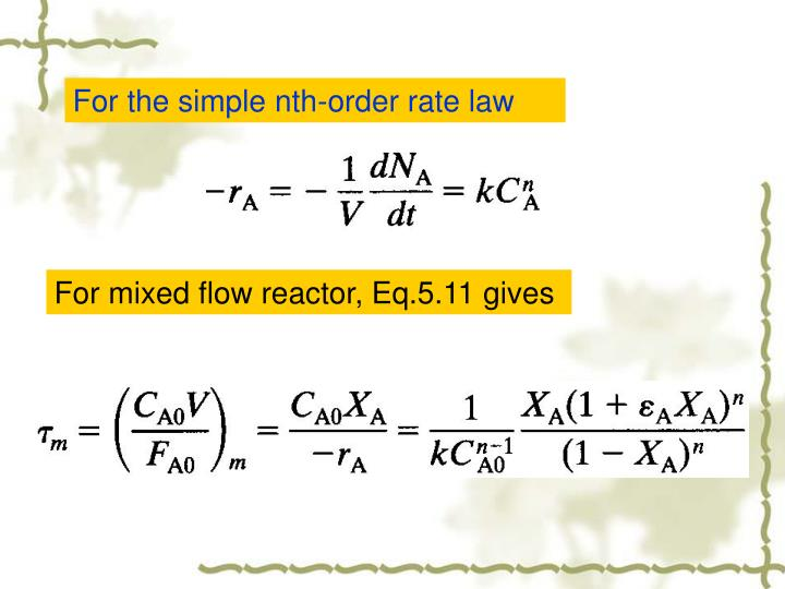 For the simple nth-order rate law