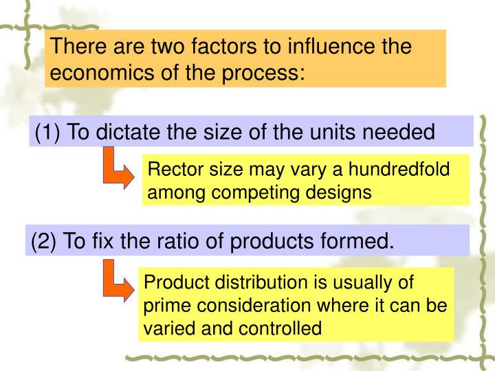 There are two factors to influence the economics of the process: