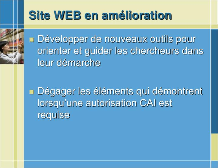 Site WEB en amélioration