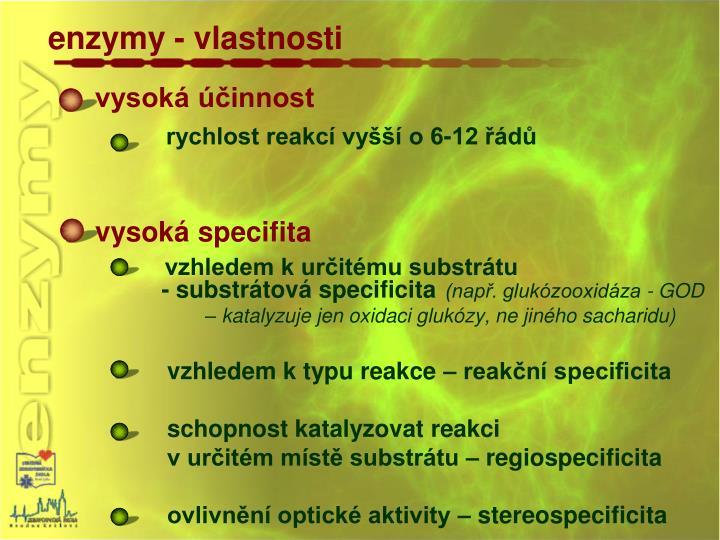 enzymy - vlastnosti