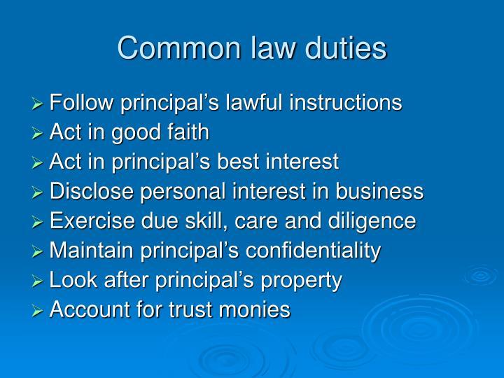 Common law duties