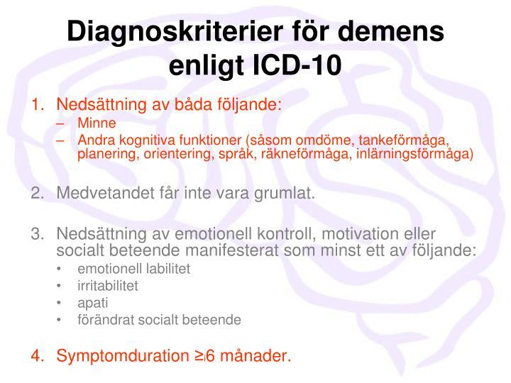 Diagnoskriterier för demens enligt ICD-10