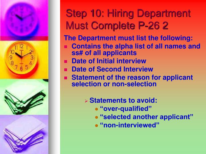 Step 10: Hiring Department