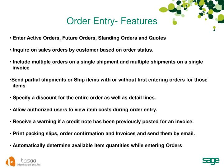 Order Entry- Features