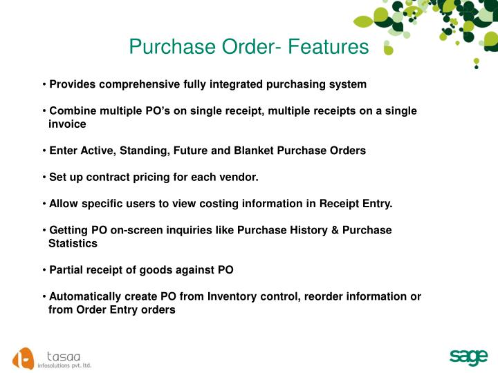 Purchase Order- Features