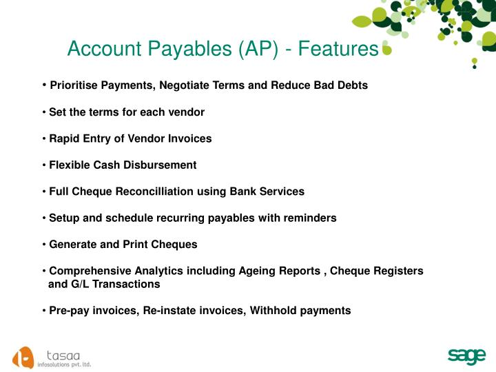 Account Payables (AP) - Features