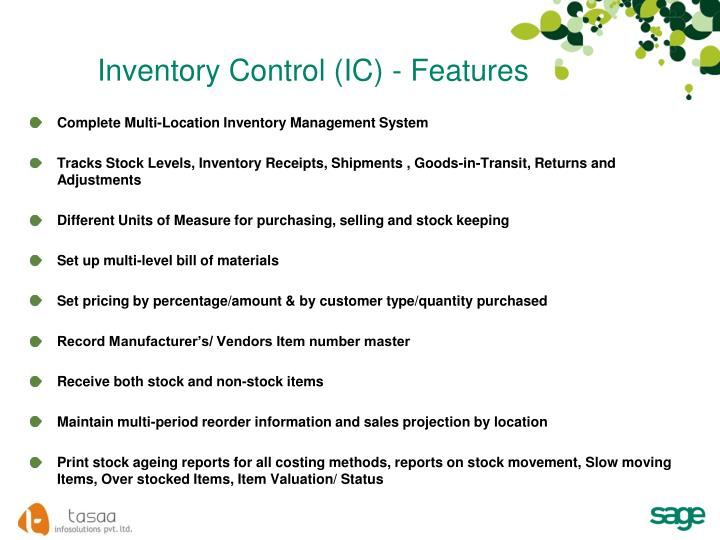 Inventory Control (IC) - Features