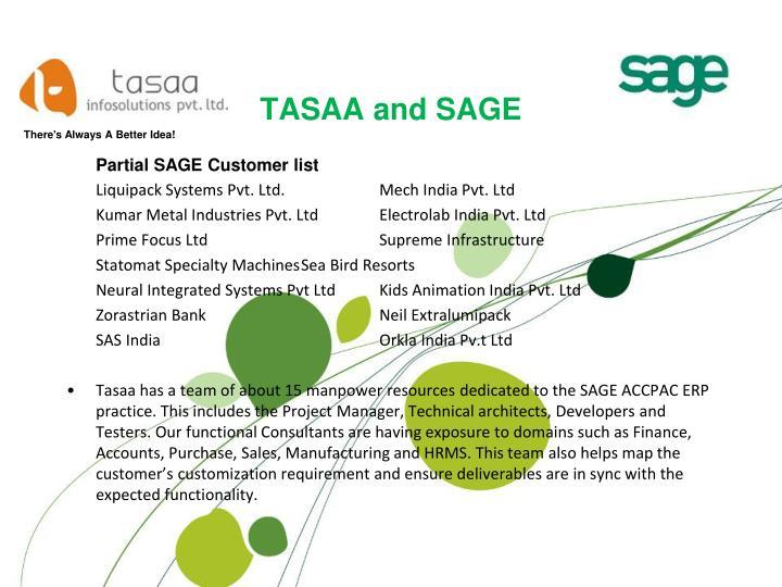TASAA and SAGE