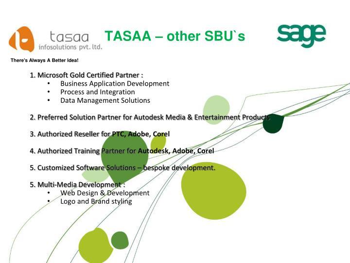 TASAA – other SBU`s