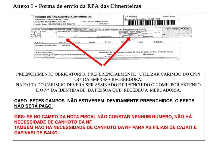 Anexo 1 – Forma de envio da RPA das Cimenteiras