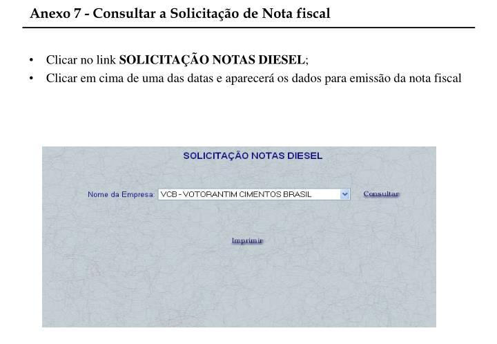 Anexo 7 - Consultar a Solicitação de Nota fiscal