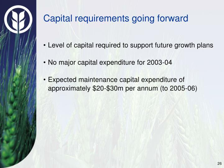 Capital requirements going forward