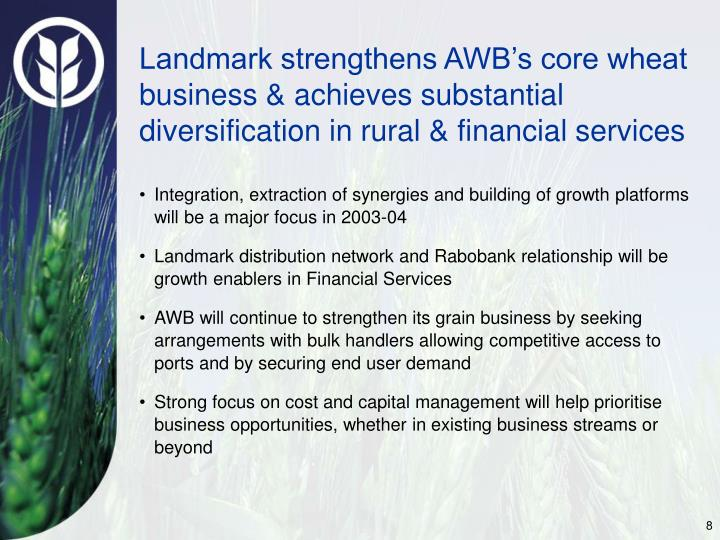 Landmark strengthens AWB's core wheat business & achieves substantial diversification in rural & financial services