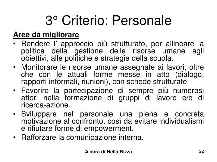 3° Criterio: Personale