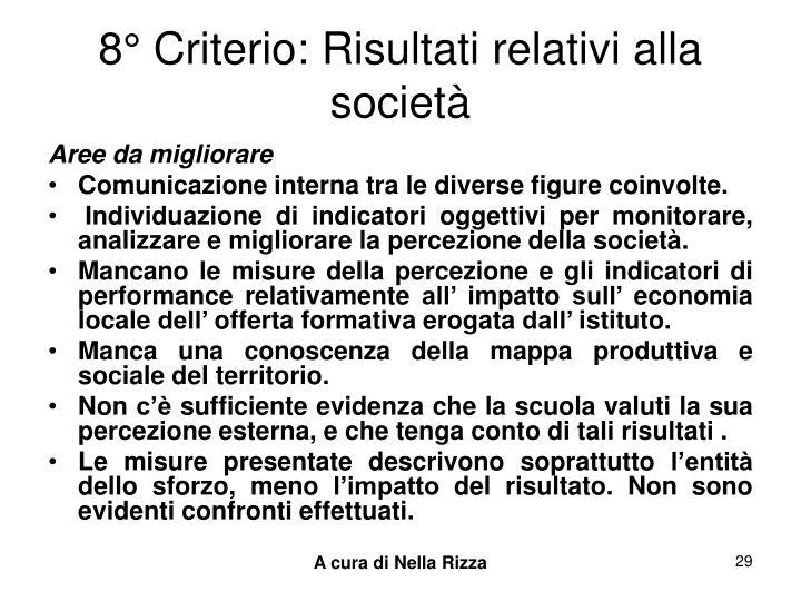 8° Criterio: Risultati relativi alla società