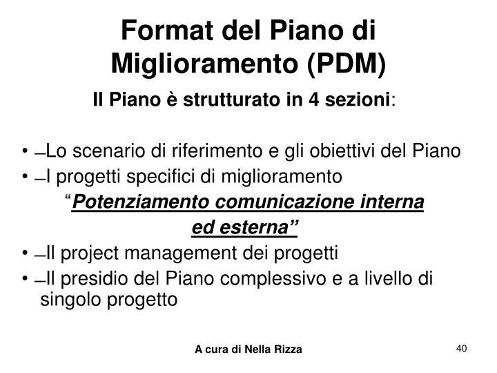 Format del Piano di Miglioramento (PDM)
