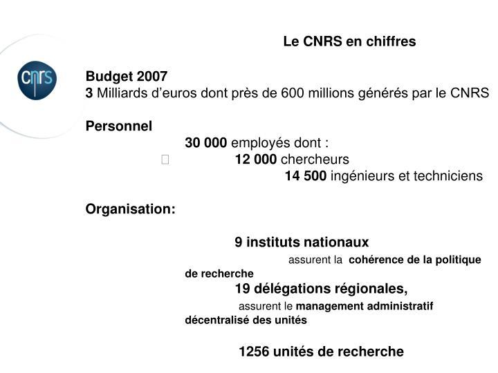 Le CNRS en chiffres