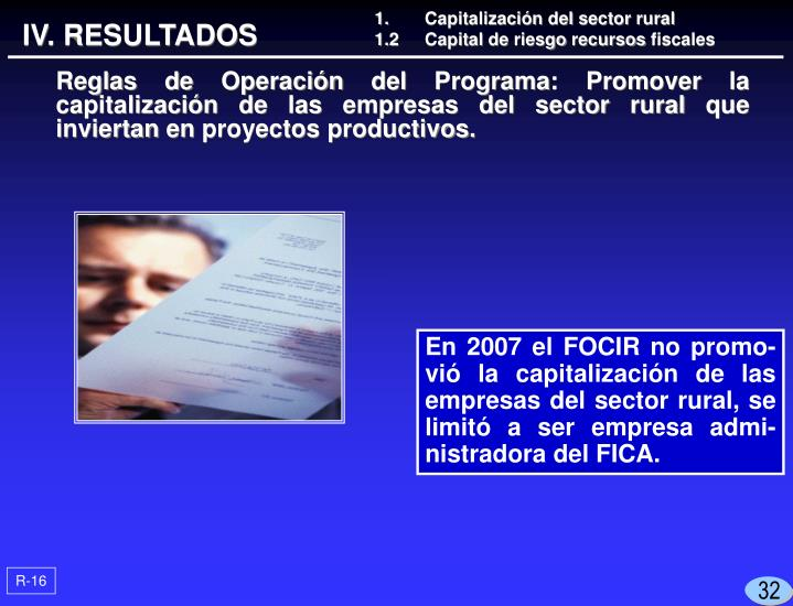 1.	Capitalización del sector rural