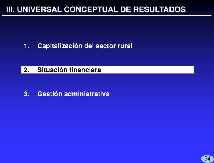 III. UNIVERSAL CONCEPTUAL DE RESULTADOS
