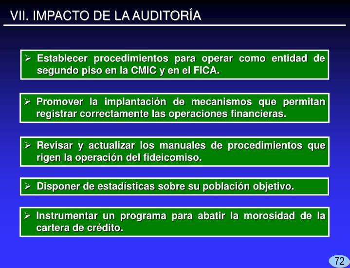 VII. IMPACTO DE LA AUDITORÍA