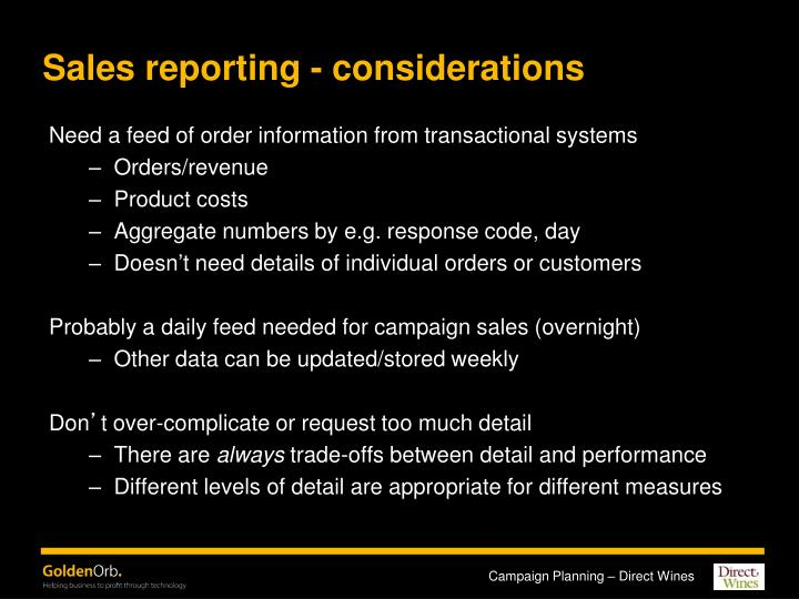 Sales reporting - considerations