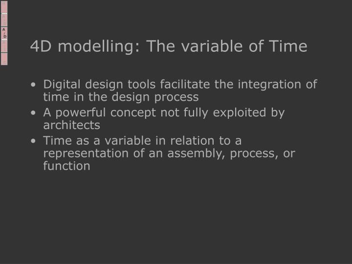 4D modelling: The variable of Time
