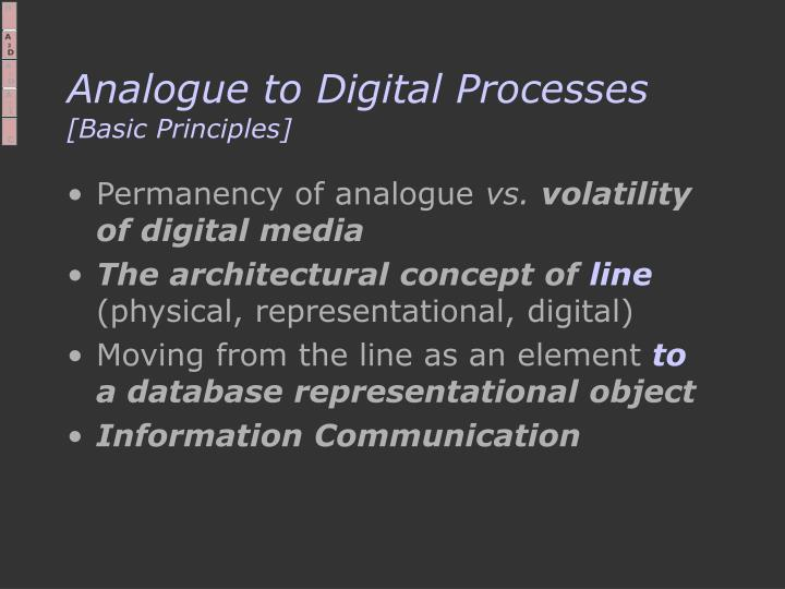 Analogue to Digital Processes